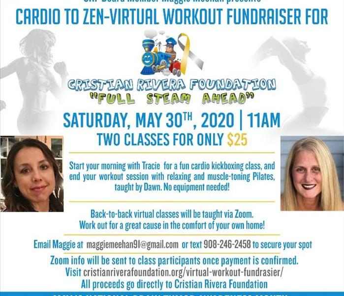 Flyer Cardio to Zen Virtual Workout Fundraiser for Christian Rivera Foundation