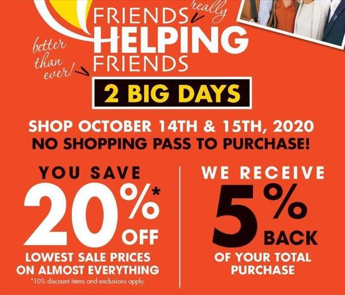 Flyer for OceanCares Foundation Boscov's Friends Helping Friends 2 Day Event October 14th & 15th 2020