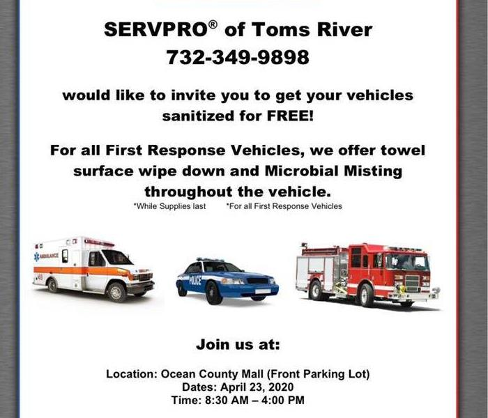 A flyer from SERVPRO of Toms River for First Responders Vehicles offering free disinfecting