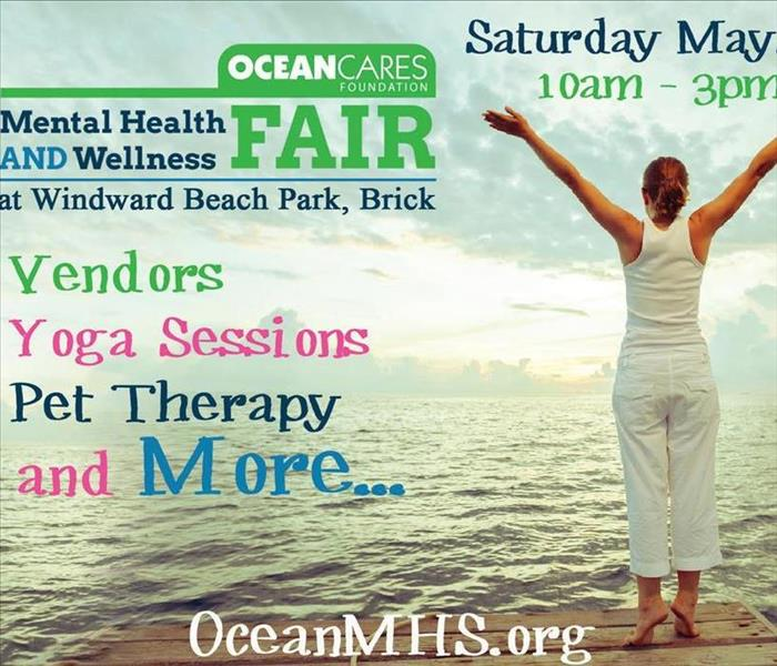 OceanCares Mental Health & Wellness Fair Flyer shows women in a Yoga pose that says fair will have pet therapy/yoga sessions