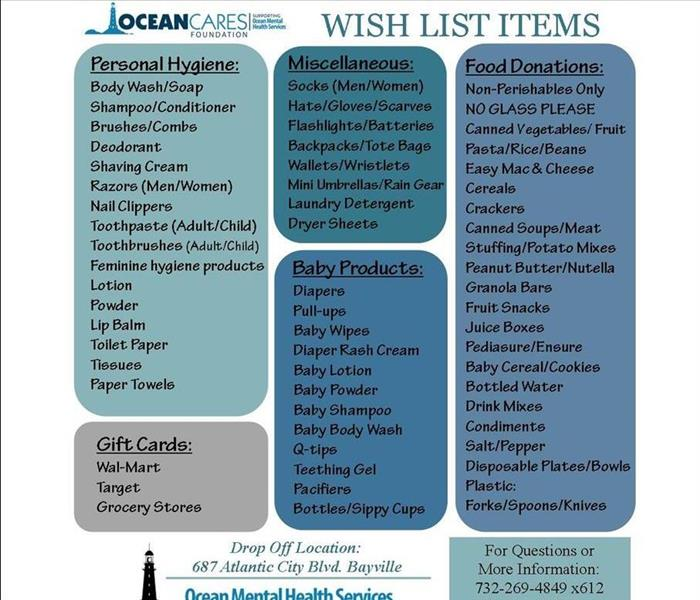 Flyer about OceanCares Wishlist for Ocean Mental Health Services