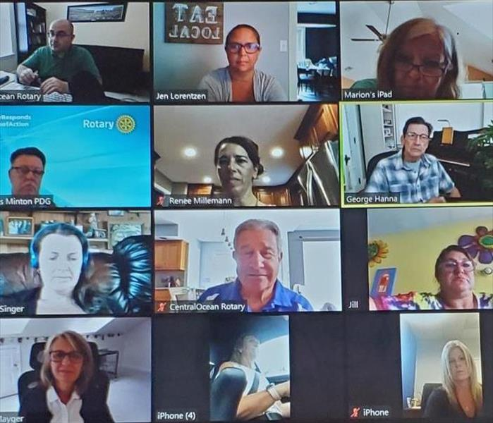 Picture of members of Central Ocean Rotary Club of Toms River on a Zoom Call for June 30, 2020 Meeting