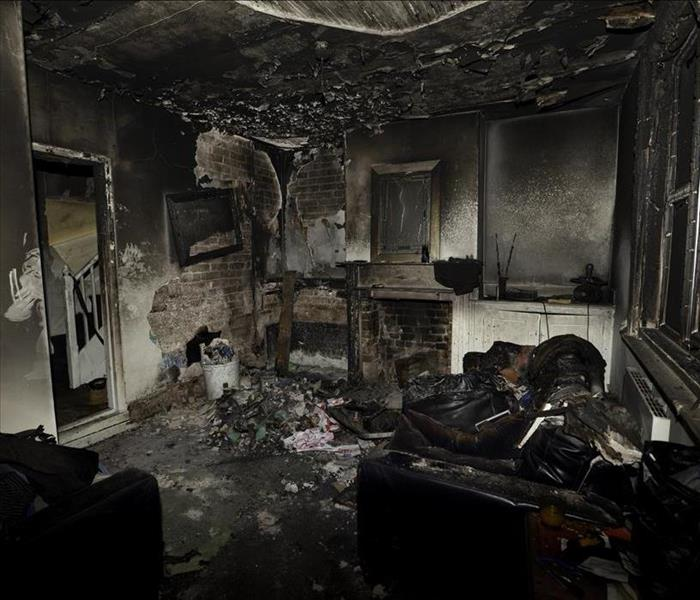 burned interior of house